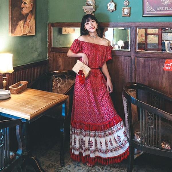 度假洋裝長裙復古民族風印花流蘇一字肩不規則大裙擺及踝度假連身裙兩色NE603韓衣裳