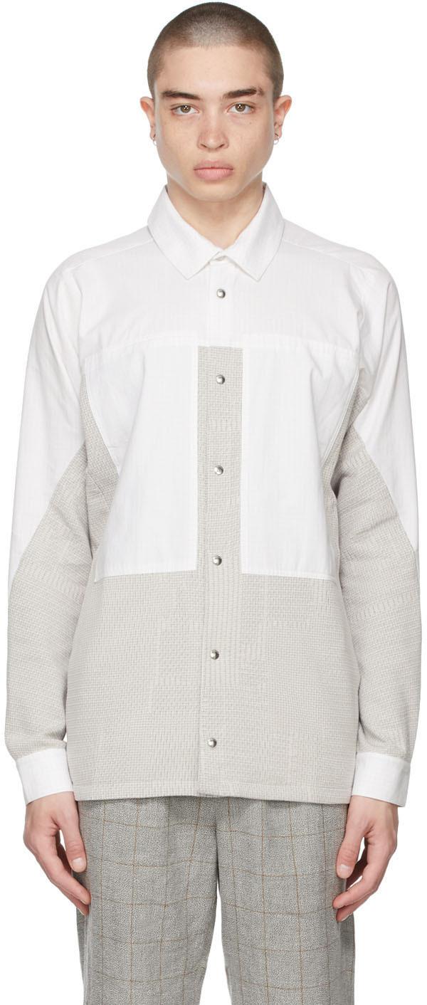 BYBORRE 白色 & 灰色拼色衬衫夹克