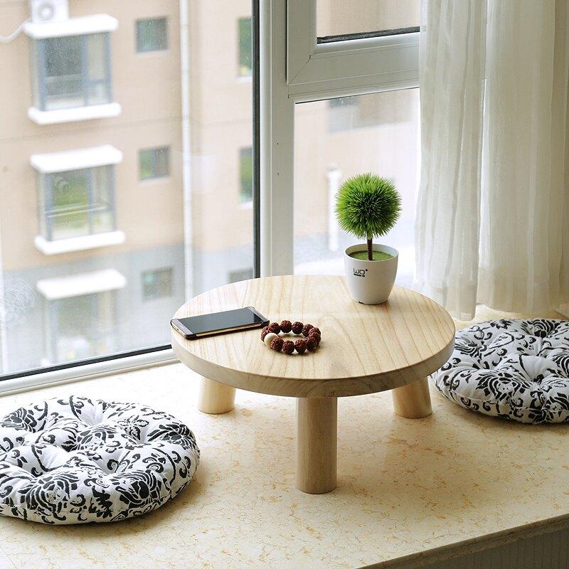 坑桌 簡約飄窗小茶幾圓形木桌窗臺桌日式榻榻米小桌子矮桌茶桌實木炕桌