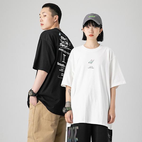 2021寬鬆情侶短袖T恤 女生日系印花體恤小眾T恤 潮流時尚韓版小眾T恤 男生文藝原創設計T恤