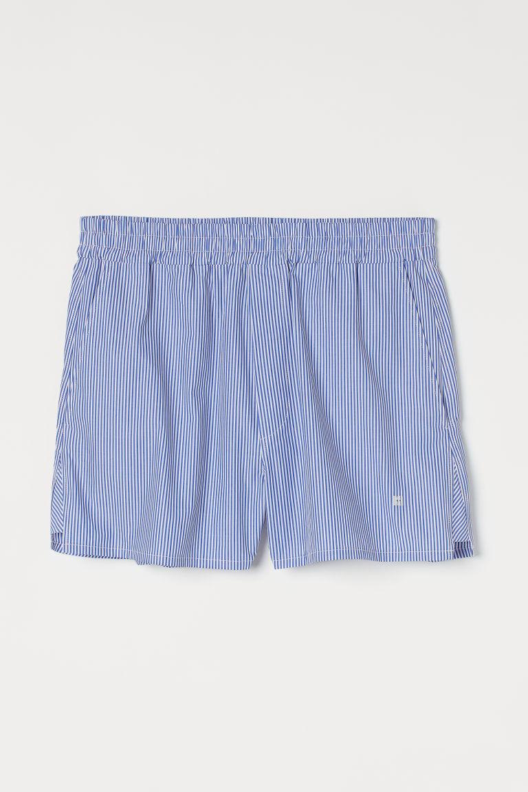 H & M - 寬鬆棉質短褲 - 藍色