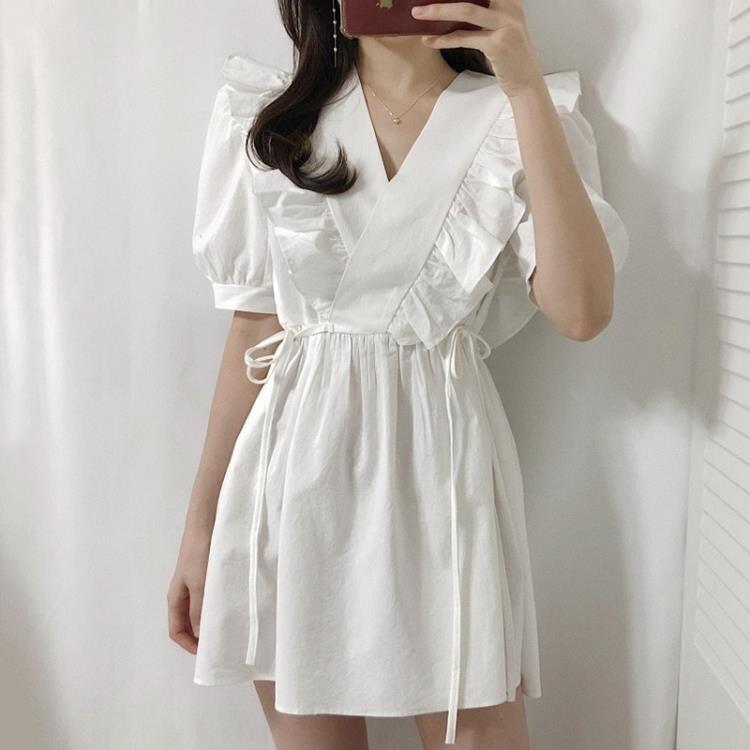 綁帶洋裝 韓國小眾V領交叉荷葉邊拼接側邊綁帶收腰小個子短袖洋裝女