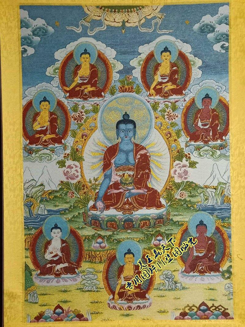 西藏唐卡佛像 織錦繡絲綢刺繡掛畫尼泊爾布畫 藥師佛中堂畫已裝裱