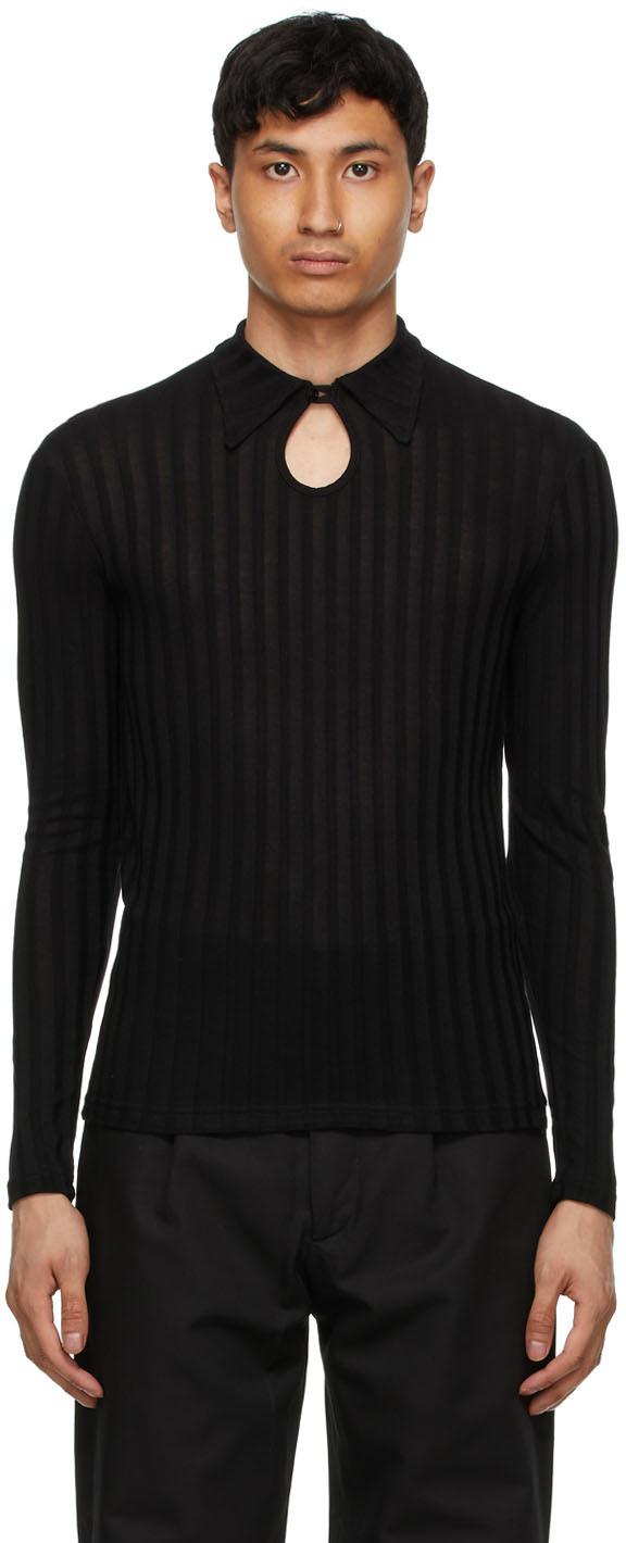 Carlota Barrera 黑色长袖 Polo 衫