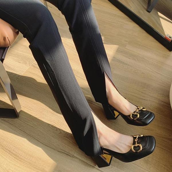 馬銜扣高跟鞋女2021年新款法式瑪麗珍女鞋復古粗跟涼鞋女中跟單鞋 艾瑞斯AFT「快速出貨」
