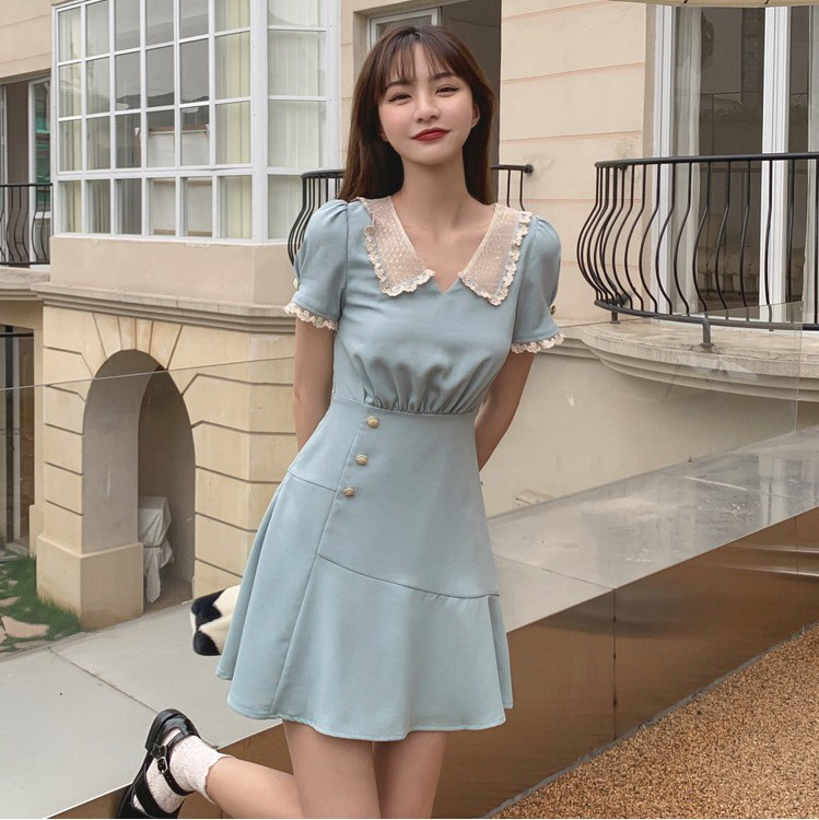 VIVILIAN法式優雅荷葉邊蕾絲小翻領復古小洋裝