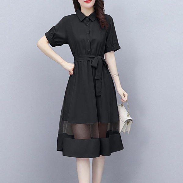 2021年夏季新款森女系很仙的網紗拼接連衣裙女小清新中長款仙女裙 陽光好物