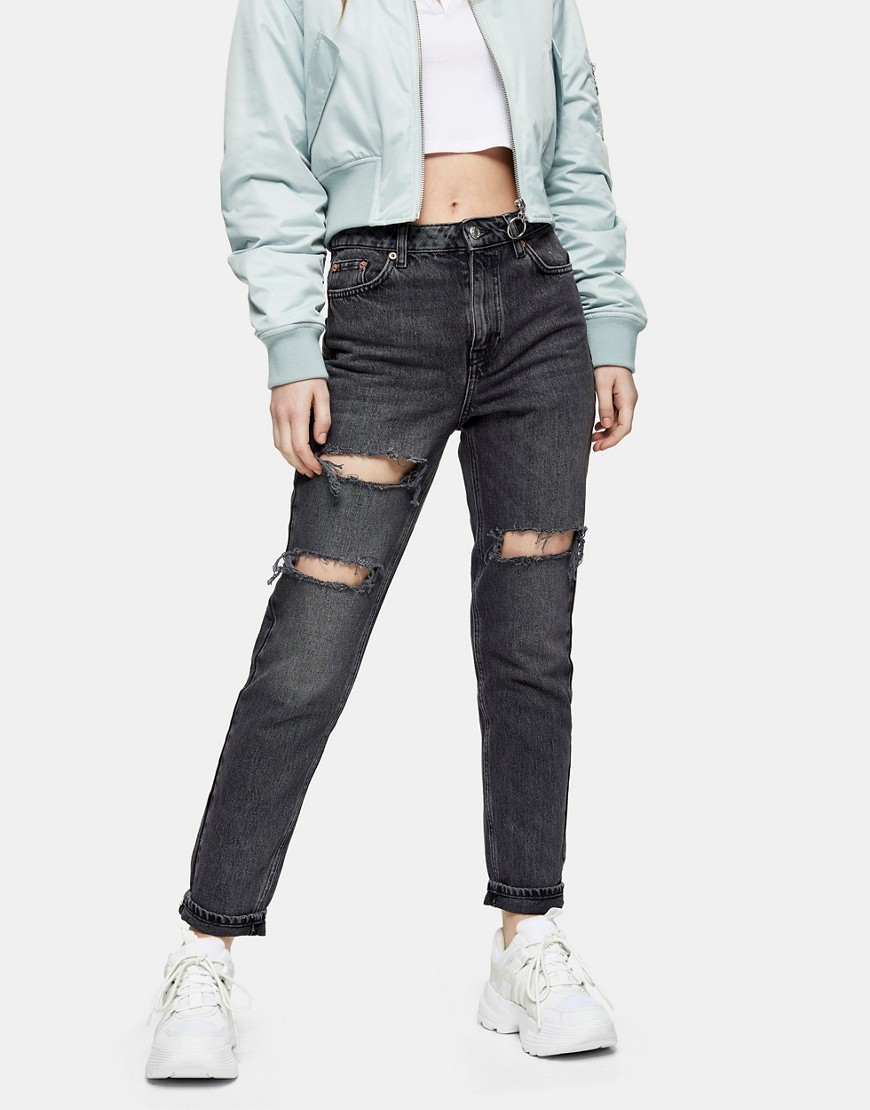 Topshop double knee rip mom jeans in washed black