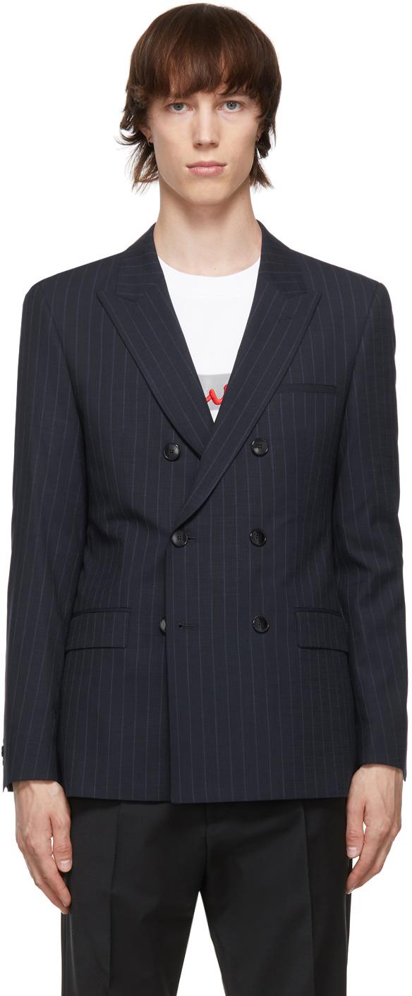 HUGO 海军蓝细条纹西装外套