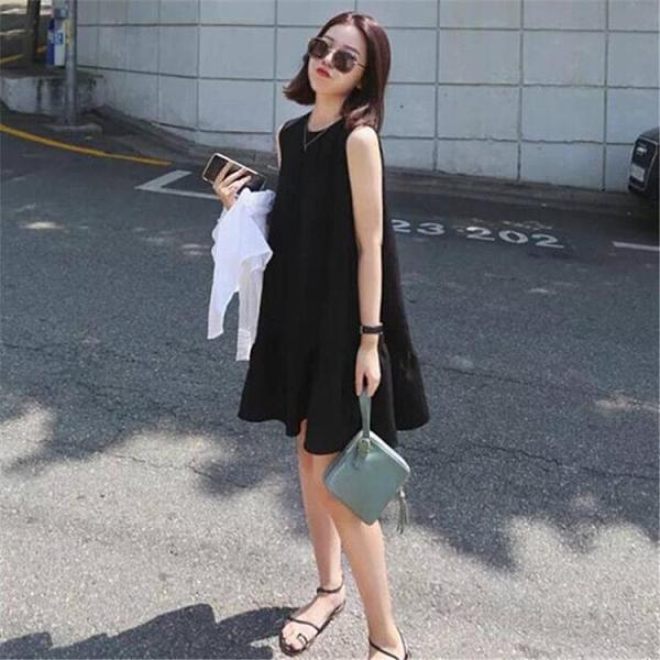 赫本小黑裙2021新款寬鬆顯瘦a字娃娃裙氣質無袖雪紡背心洋裝夏 【端午節特惠】