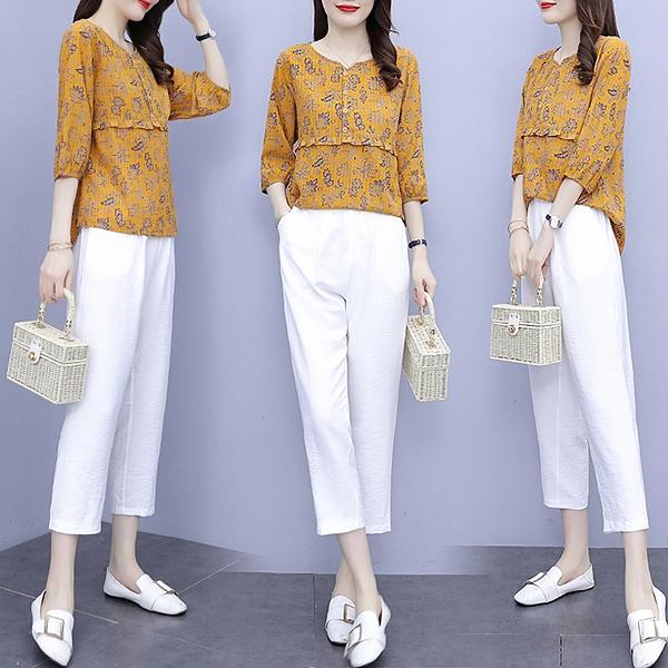 棉麻套裝 七分褲兩件套 L-5XL休閑洋氣兩件套時尚棉麻修身顯瘦套裝R027.9019 1號公館