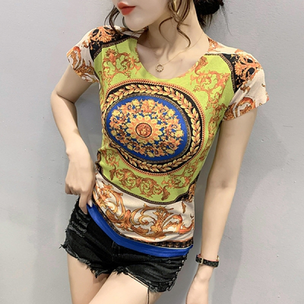 時尚印花短袖打底衫修身上衣女H450快時尚