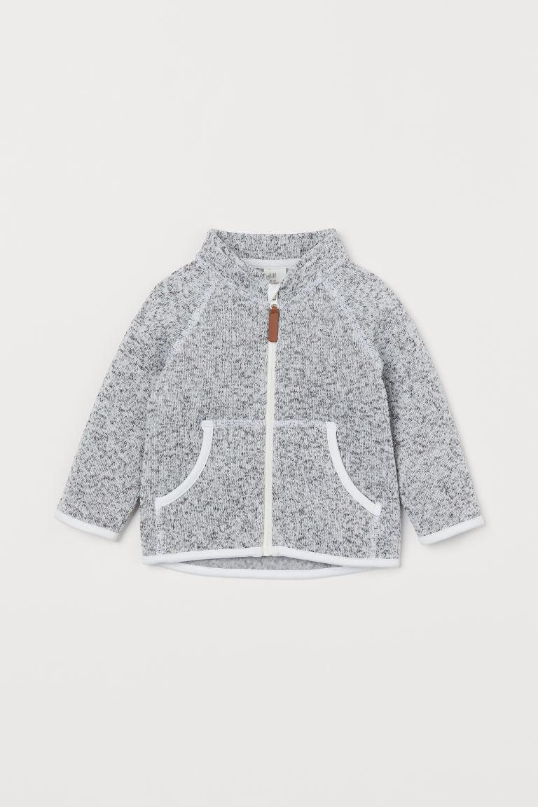 H & M - 絨毛針織外套 - 灰色