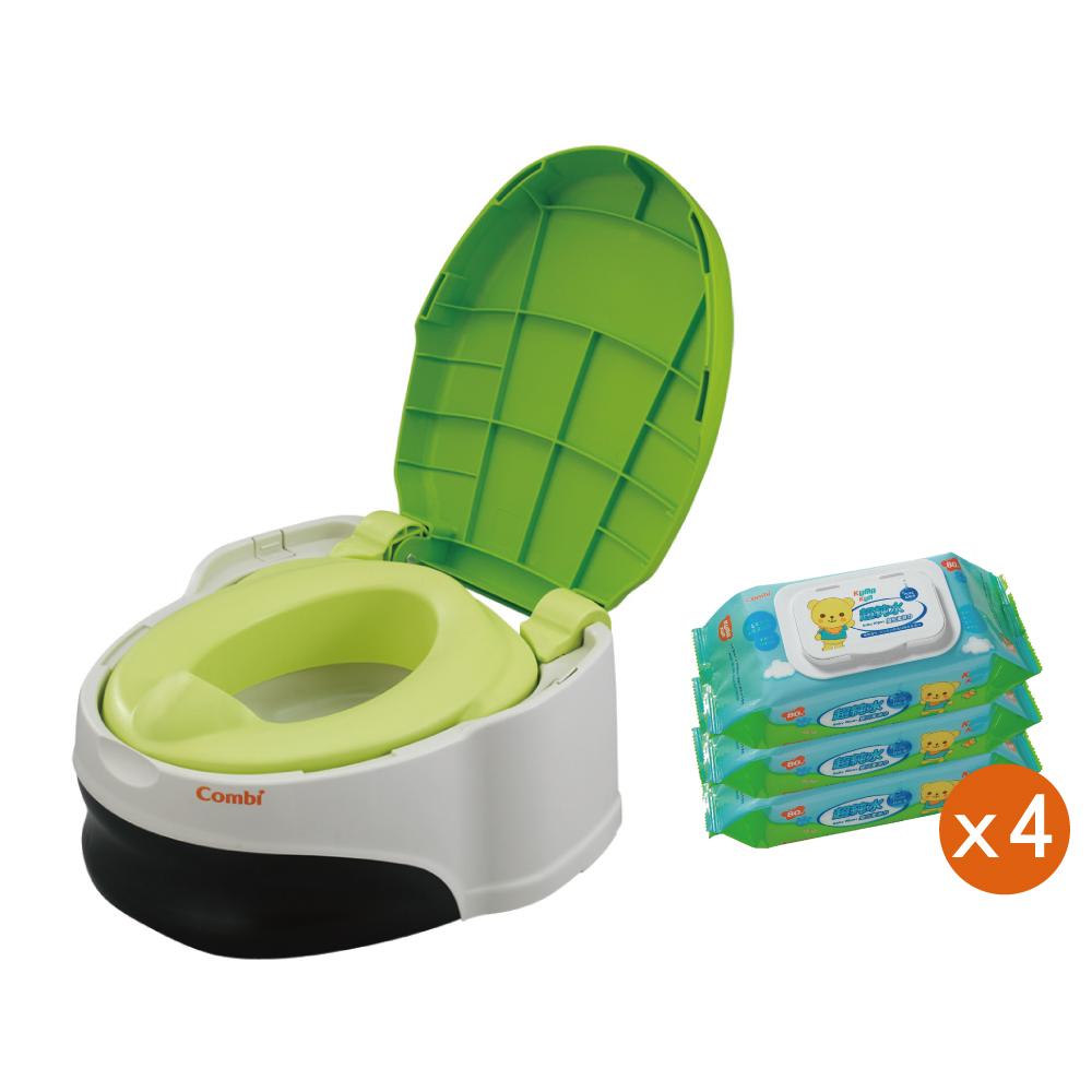 (戒尿布箱購組合) 優質坐式分段訓練便器+超純水嬰兒柔濕巾80抽x12包
