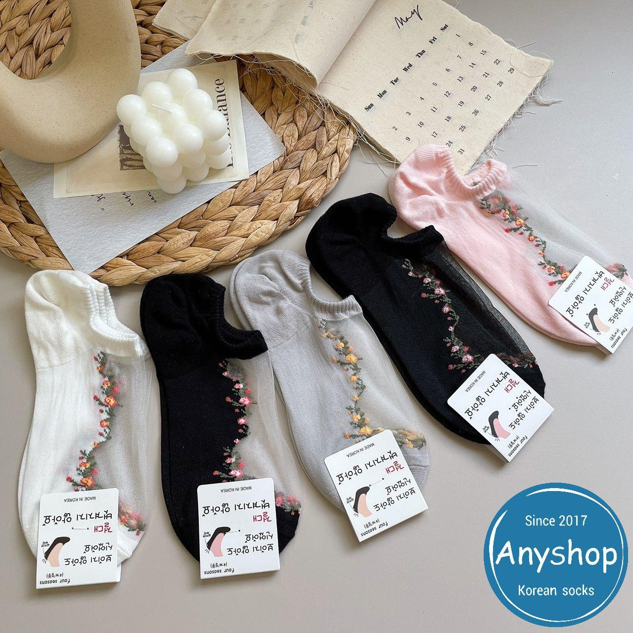 韓國襪-[Anyshop]小碎花透膚極短襪