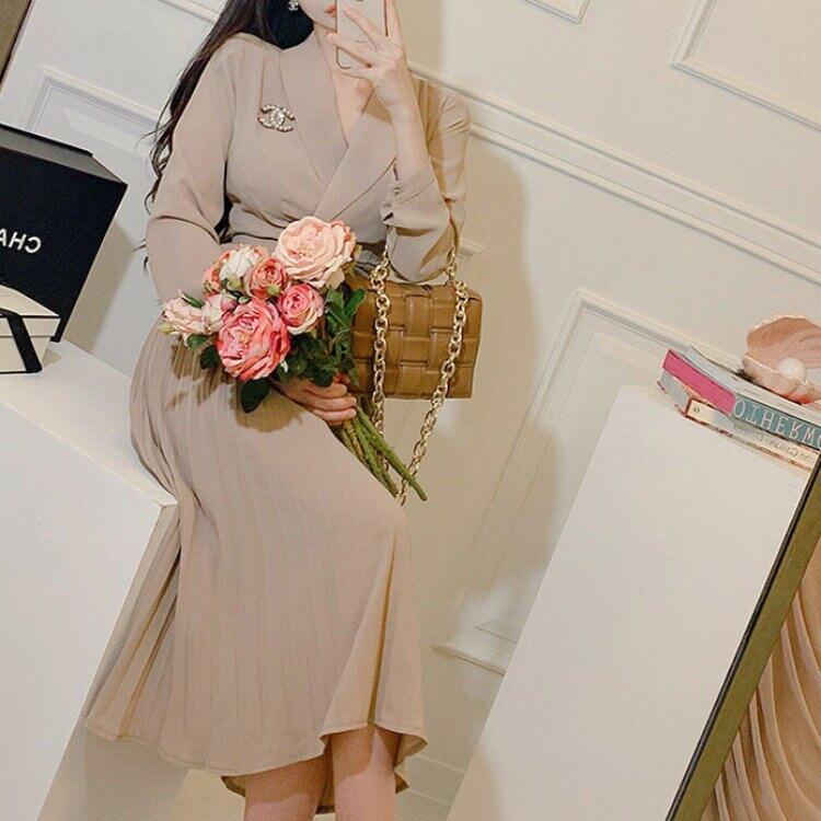 跨境2021新款韓版氣質西裝領收腰顯瘦中長款大擺百褶裙連衣裙女