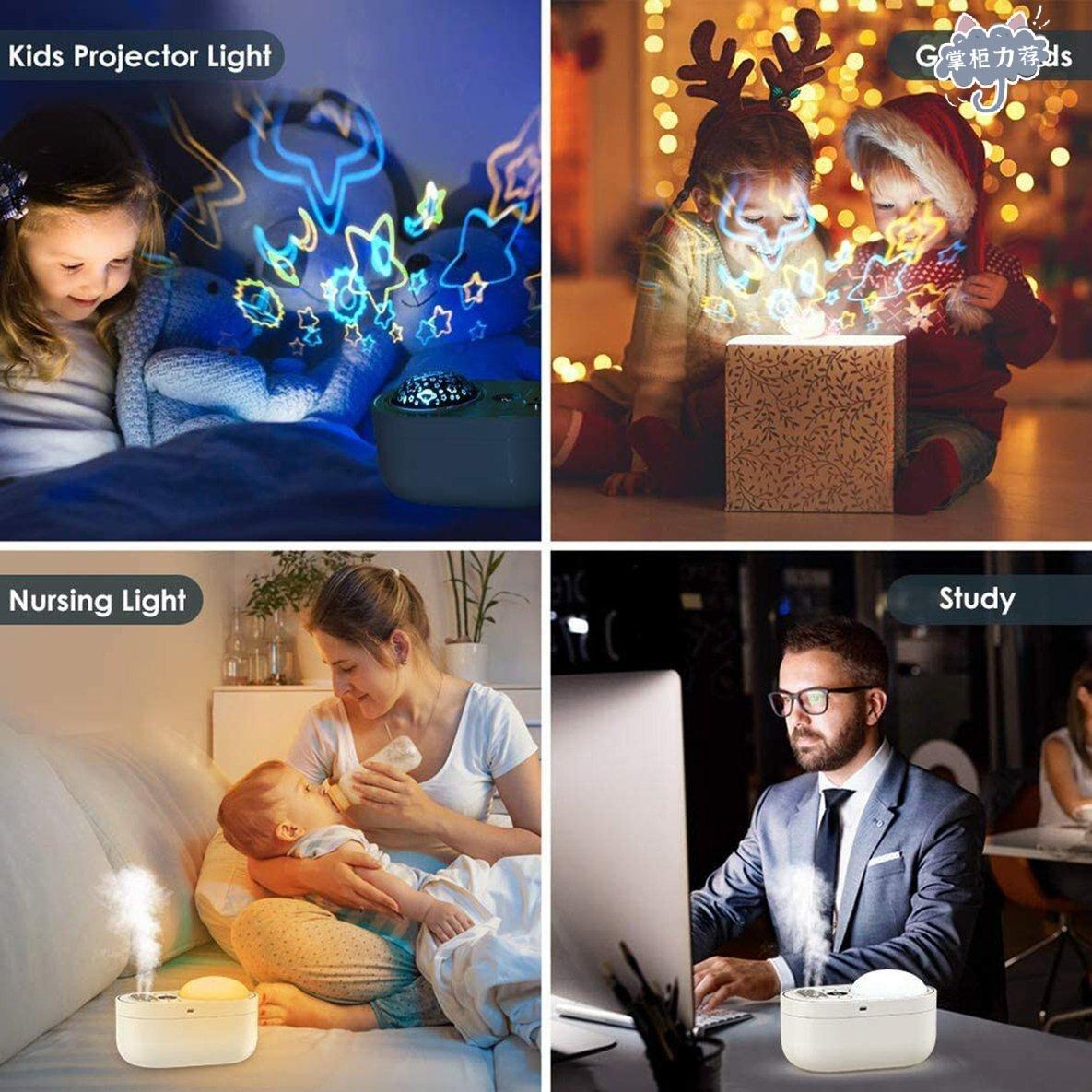 【全館免運】便攜式小型加濕器投射燈1000ml迷你加濕器小夜燈