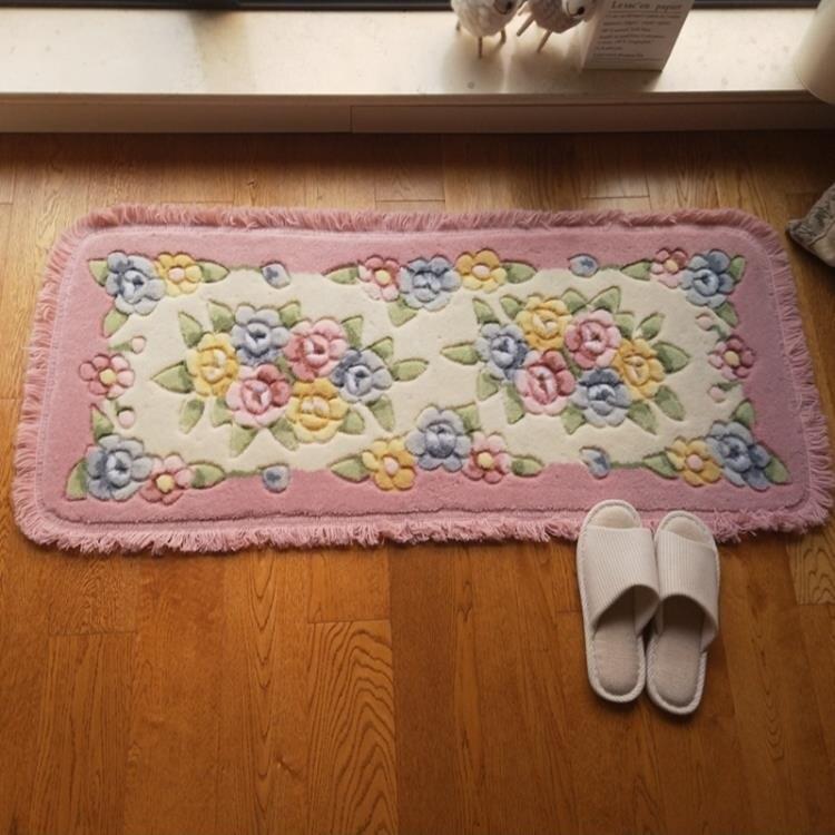 立體剪花玫瑰花朵長條廚房吸水地墊臥室床邊墊陽臺推拉門客廳腳墊 NMS 四季小屋
