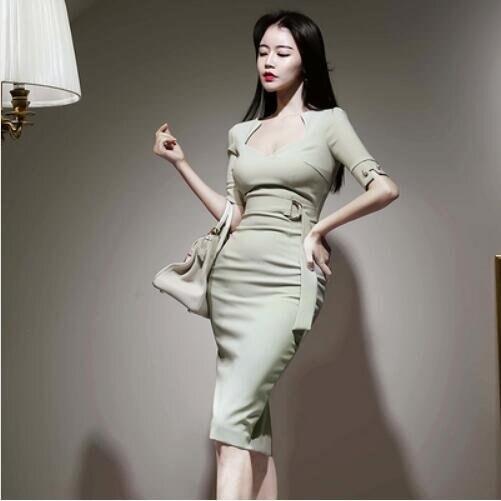 洋裝性感裙開叉裙S-XL新款性感方領收腰繫帶修身開叉連身裙NA07B-3135.