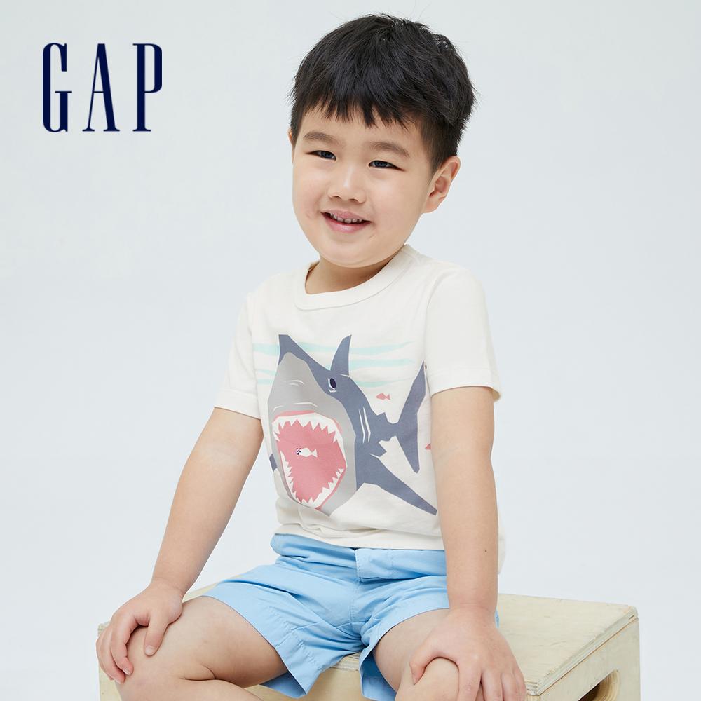 Gap 男幼童 布萊納系列 趣味動物印花純棉短袖T恤 701448-白色