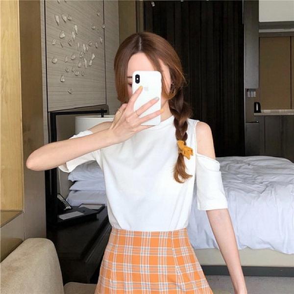 (下殺)棉夏新設計感設計款時尚釘珠t恤女短袖露肩上衣【08SG06900】