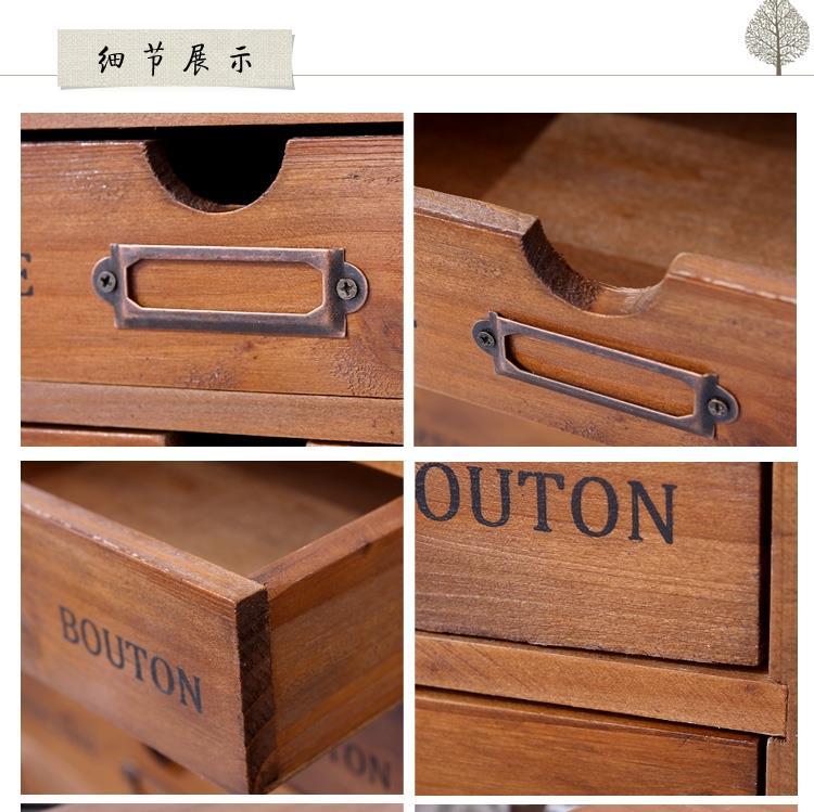 木質雜物整理盒首飾辦公桌面收納櫃木盒超大號抽屜式化妝品收納盒【免運】