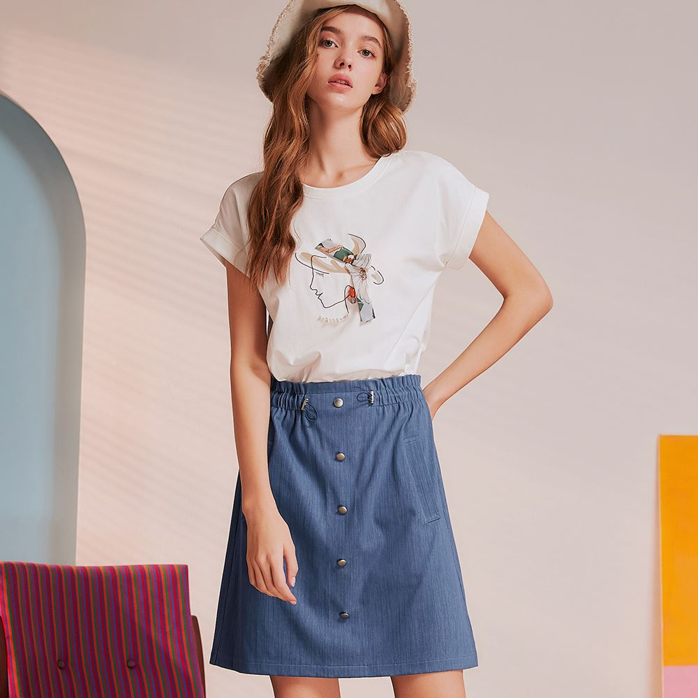 OUWEY歐薇 度假感抽象女仕線條假兩件洋裝(藍)3212067321