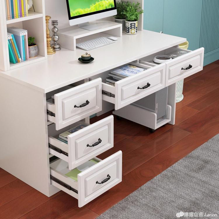 電腦桌 實木簡約書桌台式電腦桌書架一體家用組合臥室兒童學習寫字桌書櫃【免運】