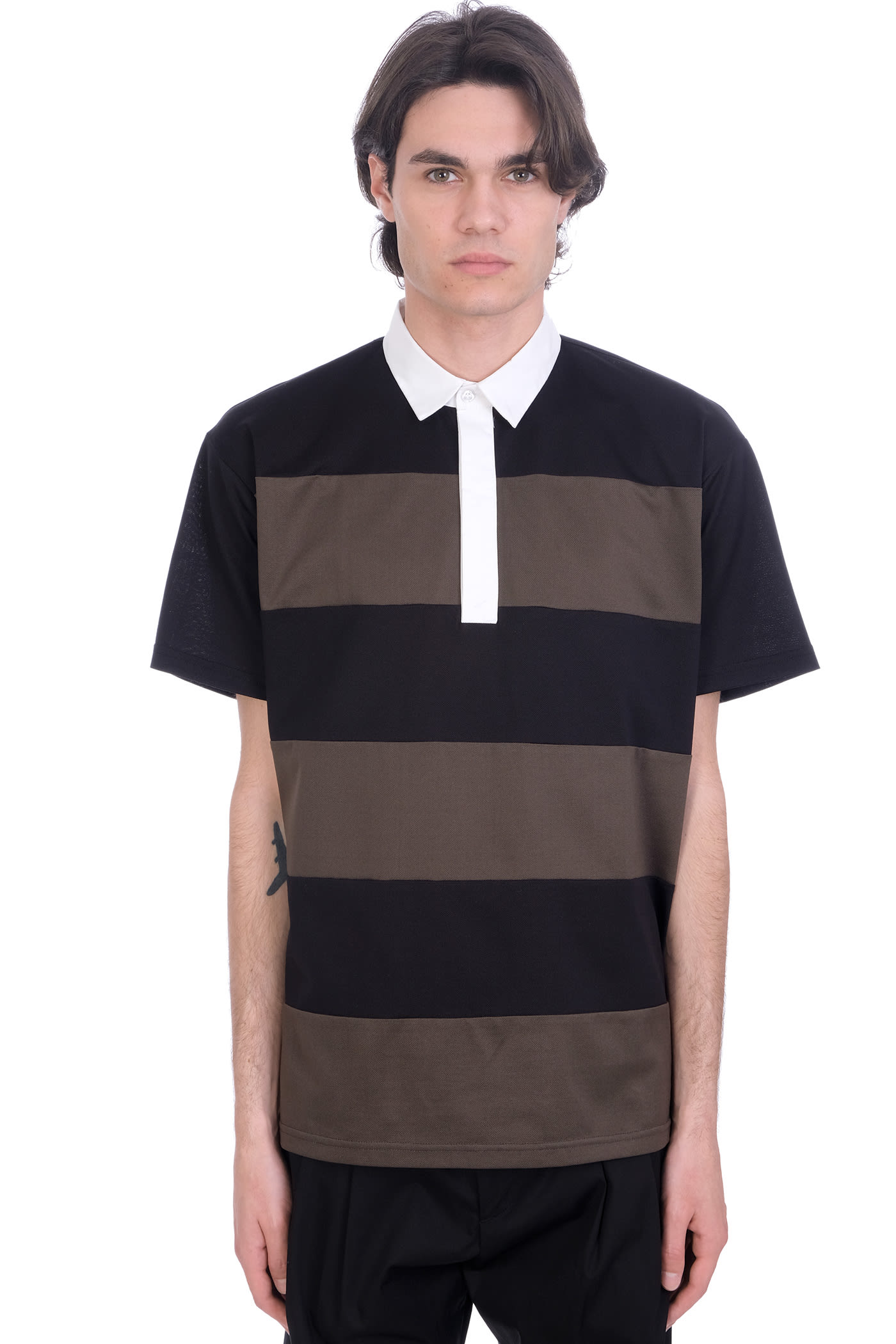 Low Brand Polo In Black Cotton