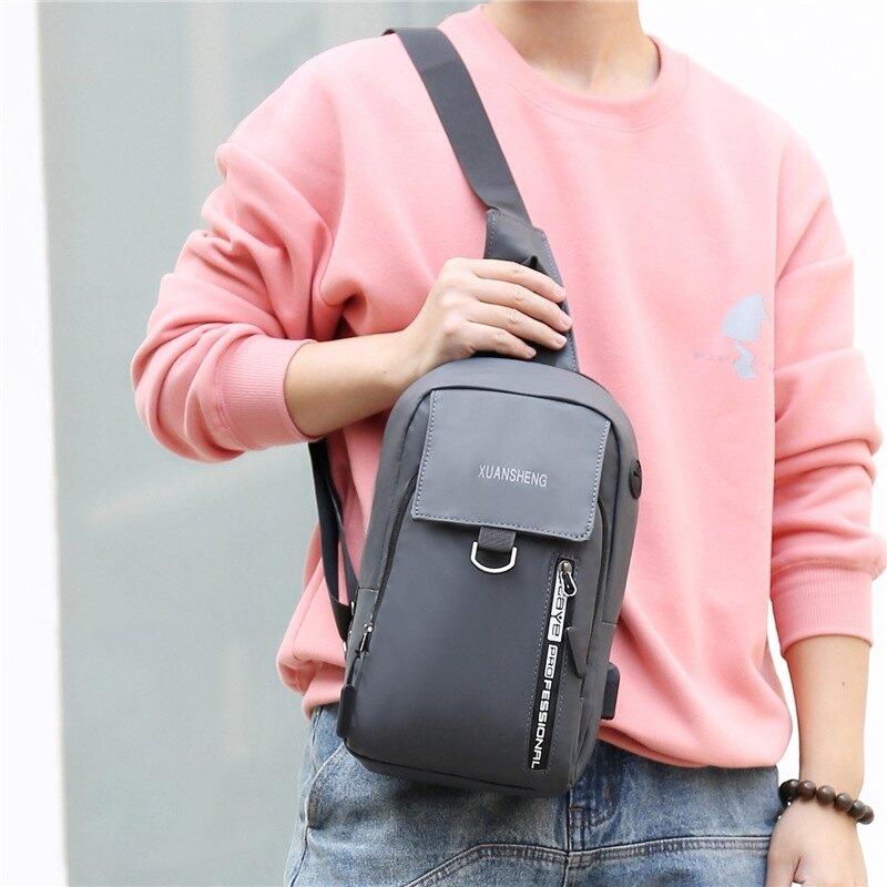 時尚休閑肩背包 韓版男士胸包 商務胸前斜挎包男 USB簡約胸包斜挎包 男生大容量胸前包包