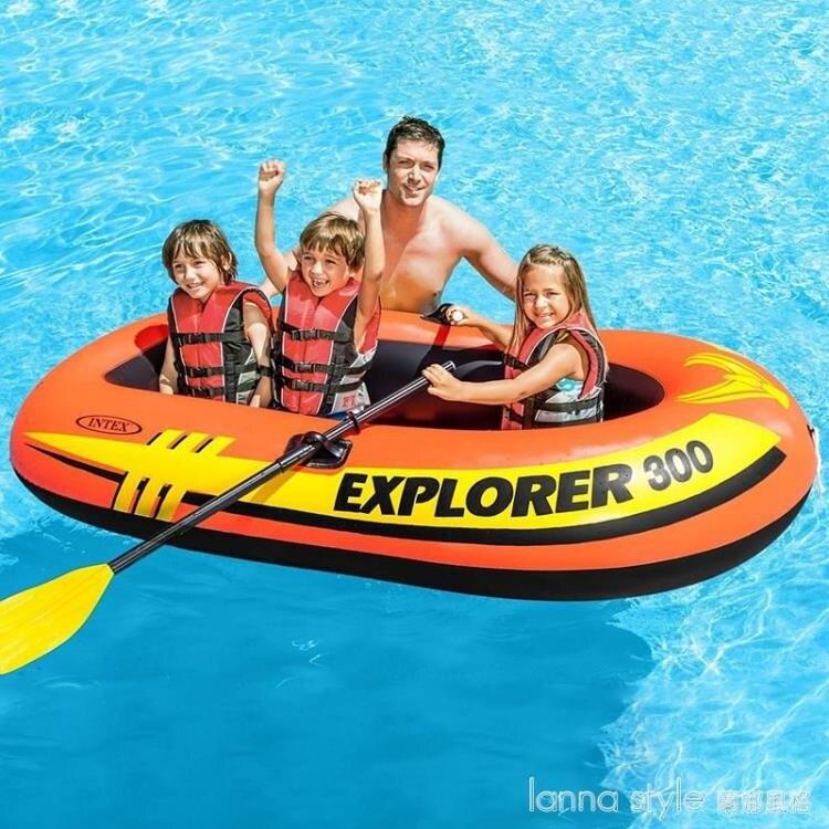 【九折】INTEX皮劃艇加厚充氣船橡皮艇沖鋒舟救生釣魚船氣墊船2/3人  YTL