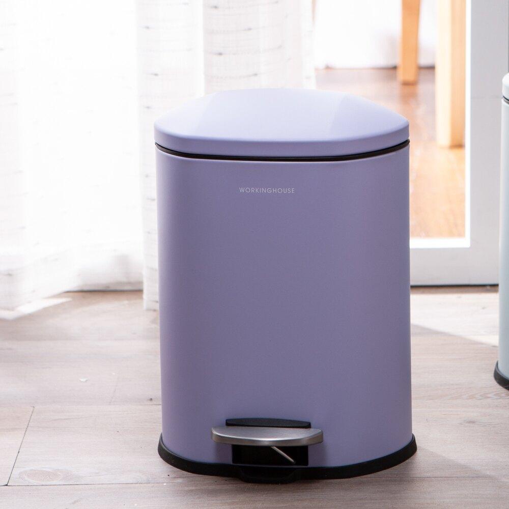 神秘紫緩降踏式垃圾桶5L-生活工場