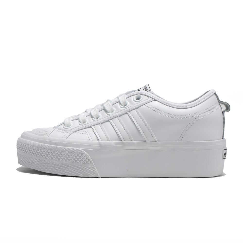 ADIDAS 休閒鞋 NIZZA PLATFORM 全白 厚底 皮革 經典 增高 女(布魯克林) FW0265