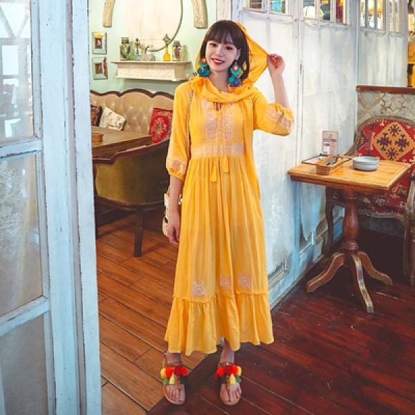 度假洋裝長裙民族風重工刺繡連身裙帶帽兩件套西北沙漠大擺裙三色NE603韓衣裳
