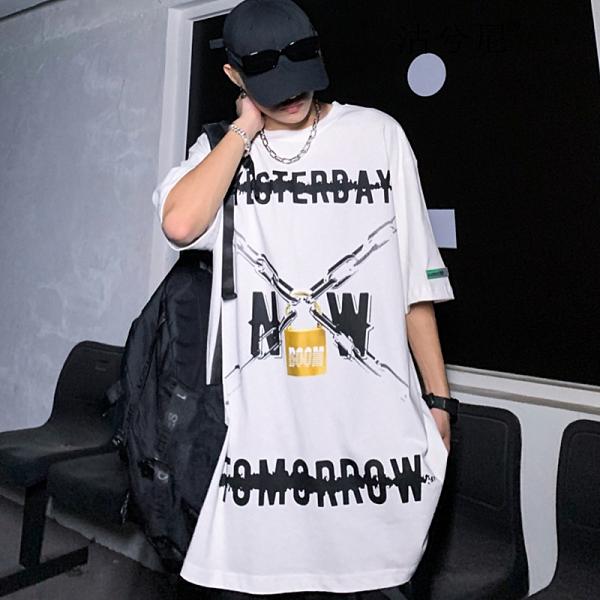 街頭潮流港風T恤 男生休閒日系中袖T恤 2021情侶歐美寬鬆短袖T恤 暗黑系嘻哈潮牌體恤T恤