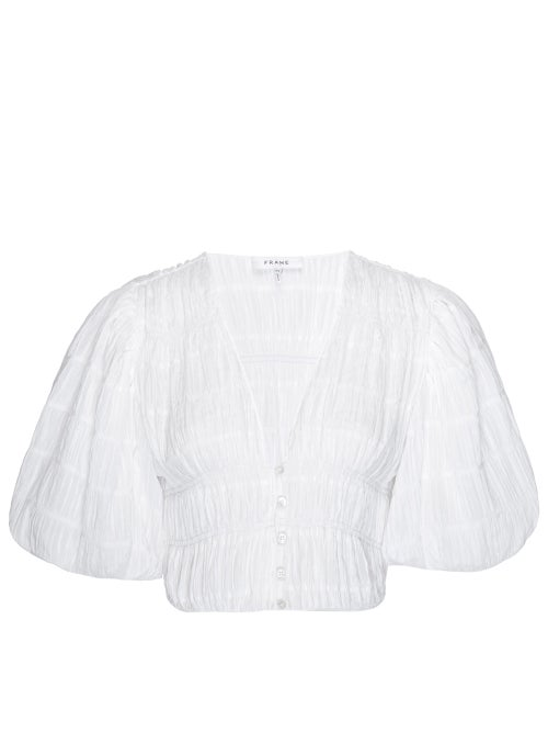 Frame - Julianne Puff-sleeve Ruched Crepe Cropped Top - Womens - White
