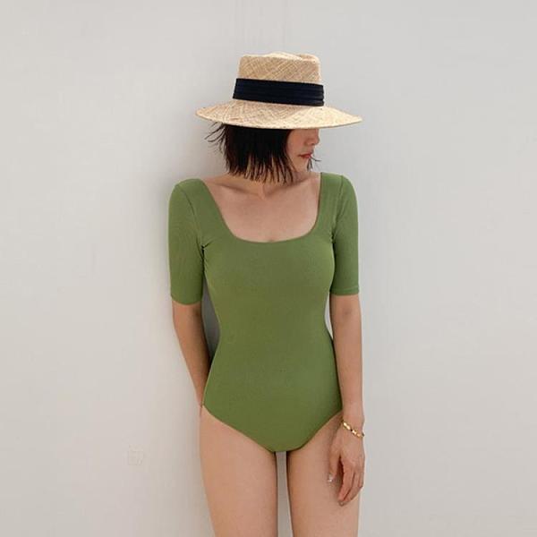 游泳衣 比基尼女遮肚顯瘦保守連體泳衣 比基尼女士韓版性感溫泉泳裝F012A快時尚