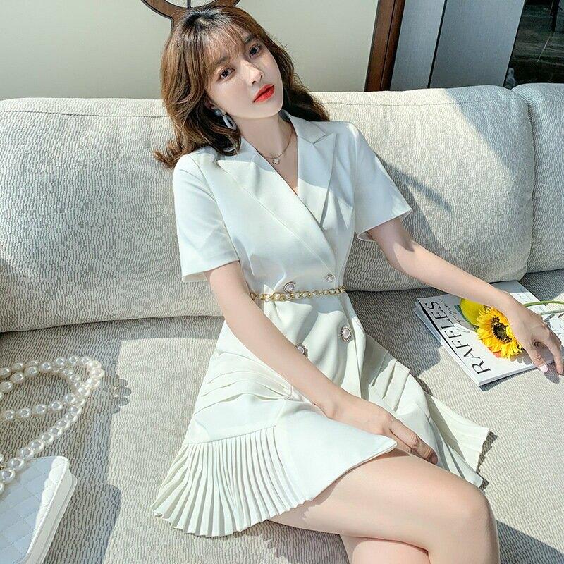 東大門女裝白色西裝連衣裙2021夏季新款輕熟風成人百褶裙