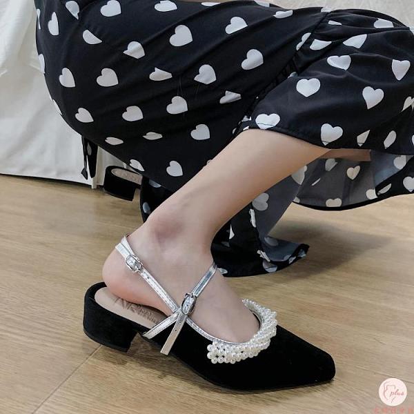 涼鞋女坡跟夏季赫本風包頭一字扣粗跟仙女高跟鞋涼鞋【大碼百分百】