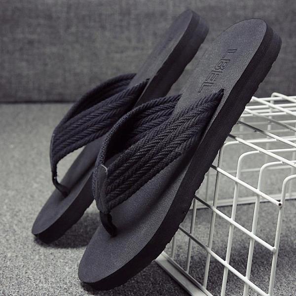 拖鞋男夏季防滑外穿涼鞋個性室外涼拖韓版潮流軟底沙灘夾腳人字拖『潮流世家』