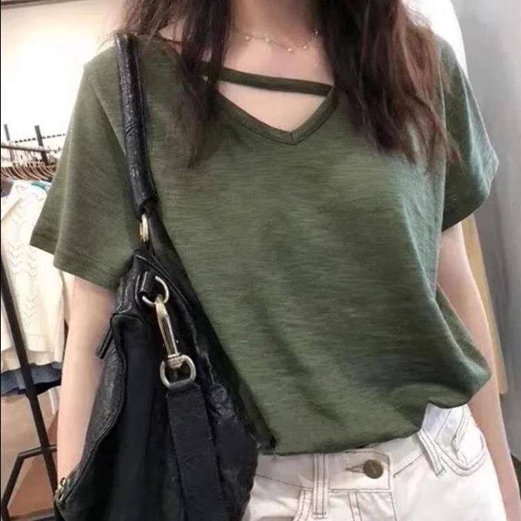 夏季竹節棉打底衫寬鬆v領短袖t恤女上衣潮