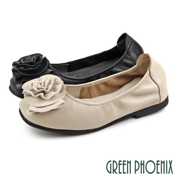 U29-20720 女款全真皮包鞋 立體山茶花微方頭平底娃娃鞋/通勤/面試鞋【GREEN PHOENIX】