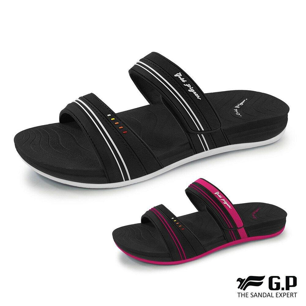 【GP】輕柔軟舒適雙帶拖鞋(G0559W)黑色/黑桃(SIZE:36-39) G.P