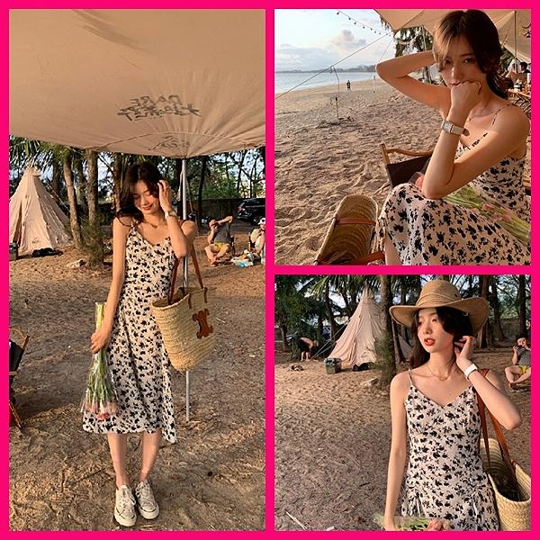 洋裝 韓系春夏渡假風沙灘細肩帶小碎花連身長裙女夏 共1色 S-XL 依二衣