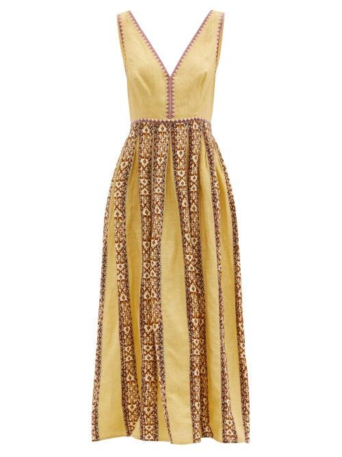 Le Sirenuse, Positano - Sofia Hand-embroidered Cotton Maxi Dress - Womens - Yellow
