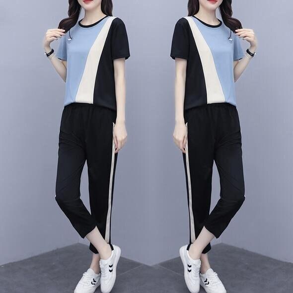 套裝上衣休閒褲中大尺碼XL-5XL新款時尚洋氣休閒女裝減齡運動時尚兩件套4F093-3598. 果果輕時尚