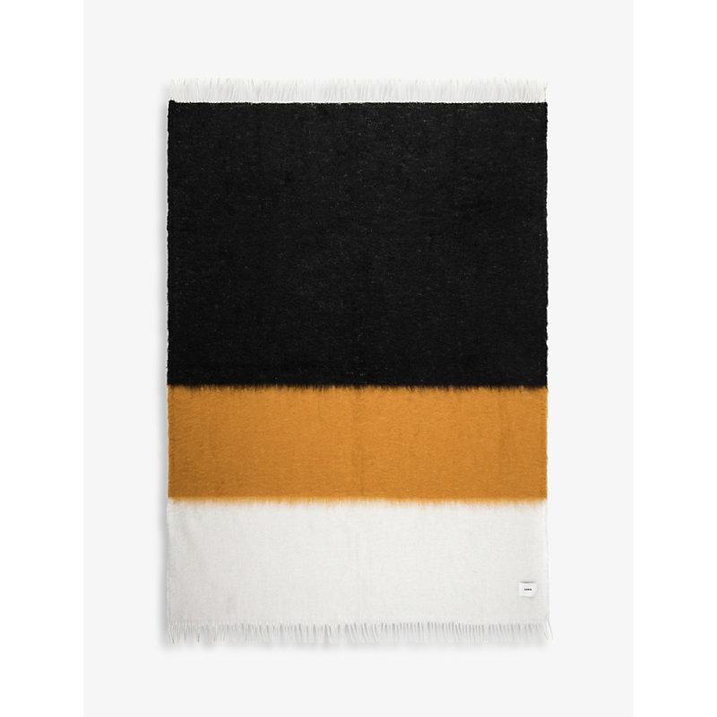 V47 mohair and wool-blend striped blanket 135cm x 200cm