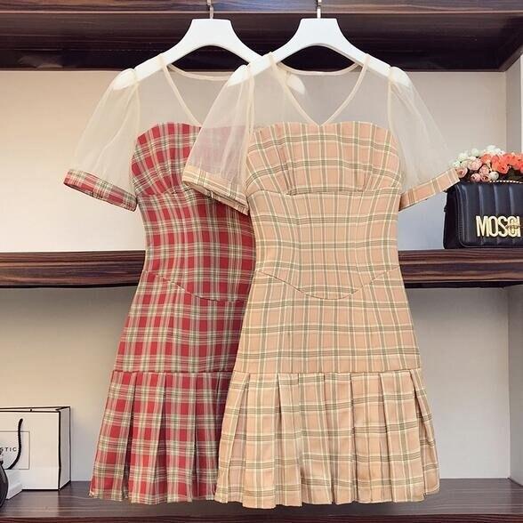洋裝連身裙格子裙中大尺碼L-4XL新款時尚網紗拼接泡泡袖收腰格子連衣裙4F093-3716. 果果輕時尚