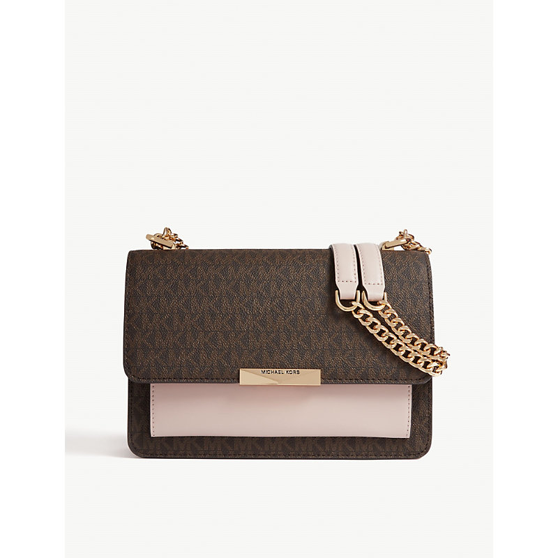 Michael Kors Ladies Brown and Soft Pink Leather Shoulder Bag