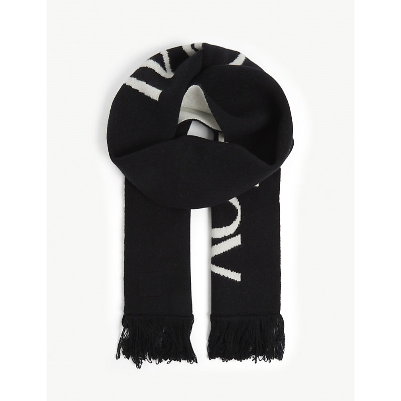 Logo-embroidered wool scarf